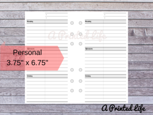 Day on One Page Undated PERSONAL SIZE Printed Planner Inserts